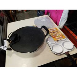 2 PERFECT PANCAKE PANS AND ELECTRIC SKILLET