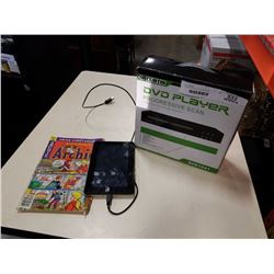 EREADER TABLET, DVD PLAYER AND COMICS