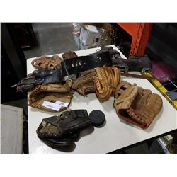 LOT OF BASEBALL GLOVES AND VINTAGE ICE SKATES