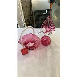 CHALET CRANBERRY GLASS BASKET AND CRANBERRY GLASS VASE