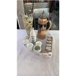 STEIN, GLASS VASE AND SAKE SET