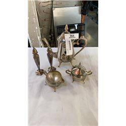 SILVER PLATE TEAPOT, CREAM AND SUGAR AND SALT AND PEPPER SHAKERS