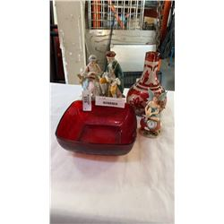 RED GLASS BOWLS AND VASE, PORCELAIN FIGURE AND FAIRY CLOCK