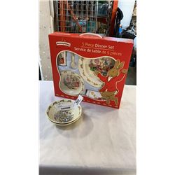 5 PIECE BUNNYKINS DINNER SET AND 2 BUNNY KINS BOWLS