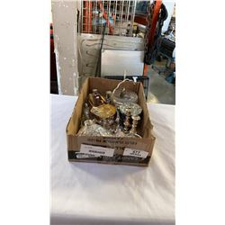 TRAY OF SILVER PLATE AND CRYSTAL SERVING PIECES