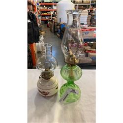 GREEN GLASS AND CERAMIC OIL LAMPS