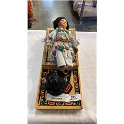 2 WOOD FIRST NATIONS BOZES, LIDDED DISH AND PORCELAIN DOLL