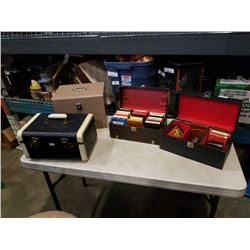 2 CASES OF 8 TRACKS, METAL BOX AND VINTAGE CASE