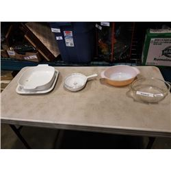 FIRE KING DISH W/ LID, CORNING WARE DISHES, ETC