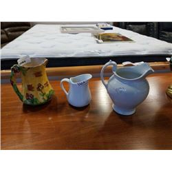 3 CERAMIC PITCHERS - STAFFORDSHIRE MADE IN ENGLAND, COTTAGE WARE MADE IN ENGLAND, AND OTHER