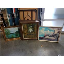 3 Oil paintings 2 canvas 1 board