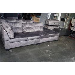 BRAND NEW GREY FABRIC EXTRA LONG SOFA W/ OPEN END - RETIL  $699 DOES NOT CLIP TOGETHER