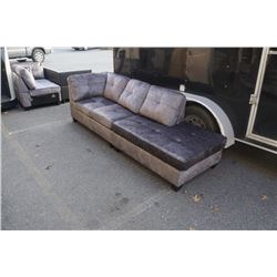 BRAND NEW GREY FABRIC EXTRA LONG SOFA W/ OPEN END - RETIL  $699, DOES NOT CLIP TOGETHER