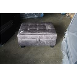 BRAND NEW GREY FABRIC OTTOMAN W/ HYDRAULIC LIFT STORAGE - RETAIL $249