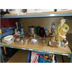 SHELF LOT OF ESTATE COLLECTIBLES  - CRYSTAL, LAMPS, CHINA, ETC
