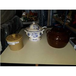VINTAGE TOUREEN, BEAN CROCK, AND OTHER CROCK