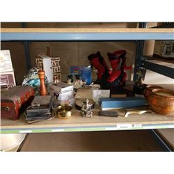 SHELF LOT OF ESTATE GOODS, WOLF FIGURES, VASES, JEWELRY BOX, ELECTRONICS