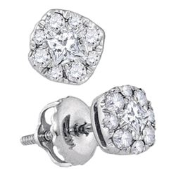 14kt White Gold Womens Princess Diamond Cluster Earrings 1/3 Cttw