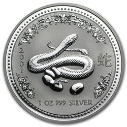 2001 Australia 1 oz Silver Year of the Snake BU (Series I)
