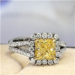 Natural 2.52 CTW Halo Yellow Cushion Cut Diamond Engagement Ring 18KT Two-tone