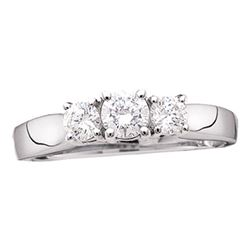 14kt White Gold Round Diamond 3-stone Bridal Wedding Engagement Ring 1/2 Cttw