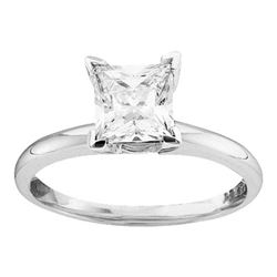 14kt White Gold Womens Princess Diamond Solitaire Bridal Wedding Engagement Ring 3/8 Cttw
