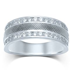 14kt White Gold Mens Round Diamond Double Row Textured Wedding Band Ring 1 Cttw
