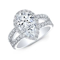 Natural 1.87 CTW Halo Pear Cut Tear Drop Split Shank Diamond Engagement Ring 14KT White Gold