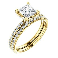 Natural 2.12 CTW Hidden Halo Princess Cut Diamond Ring 18KT Yellow Gold