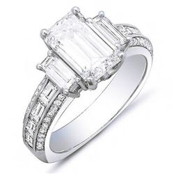 Natural 3.32 CTW Emerald Cut & Baguettes Diamond Engagement Ring 18KT White Gold