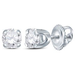 14kt White Gold Womens Round Diamond Solitaire Earrings 1/4 Cttw
