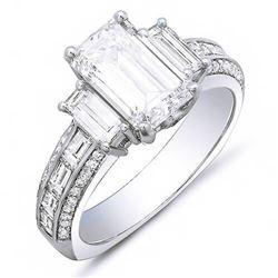 Natural 2.42 CTW Emerald Cut & Baguette Diamond Engagement Ring 18KT White Gold