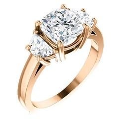 Natural 2.32 CTW Cushion Cut & Half Moons 3-stone Diamond Ring 14KT Rose Gold