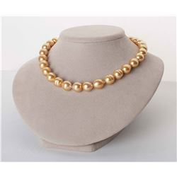 """22K Deep Golden South Sea Baroque Pearl Necklace, 18"""", 12.1-13.9mm, AA+/AAA Quality"""