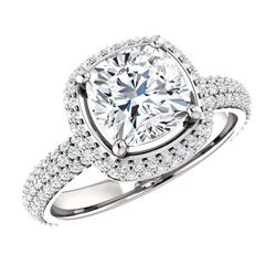 Natural 2.57 CTW Cushion Cut Diamond Halo Engagement Ring 18KT White Gold