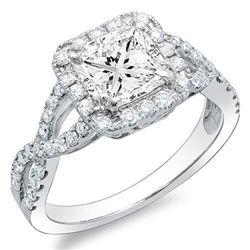 Natural 2.62 CTW Princess Cut Crisscross Diamond Engagement Ring 14KT White Gold