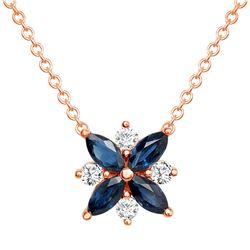 Natural 1.26 CTW Diamond & Blue Sapphire Necklace 14KT Rose Gold