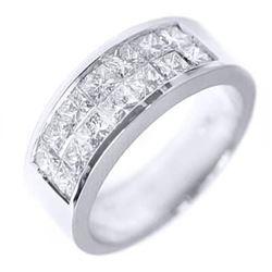Natural 1.22 CTW Invisible Set Princess Cut Diamond Wedding Ring 18KT White Gold