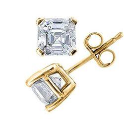 Natural 1.52 CTW Asscher Cut Diamond Stud Earrings 14KT Yellow Gold
