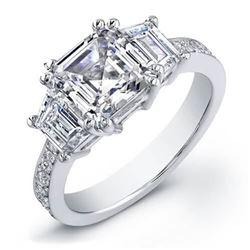 Natural 1.62 CTW Asscher Cut & Trapezoids Diamond Ring 18KT White Gold