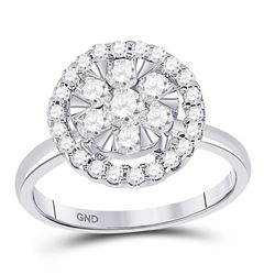 14kt White Gold Womens Round Diamond Halo Flower Cluster Ring 1 Cttw