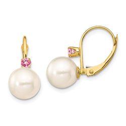 14k Yellow Gold White Pearl Pink Topaz Earrings - 8-8.5 mm