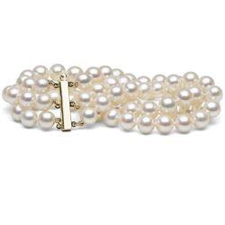 White Freshwater Triple Strand Pearl Bracelet, 7.5-8.0mm