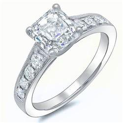 Natural 1.47 CTW Asscher Cut Engagement Ring 14KT White Gold
