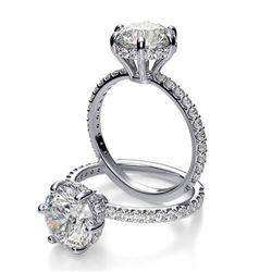 Natural 2.02 CTW Round Cut 6-Prong Side Halo Diamond Engagement Ring 14KT White Gold