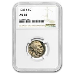 1923-S Buffalo Nickel AU-58 NGC