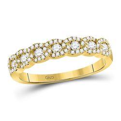 14kt Yellow Gold Womens Round Diamond Anniversary Band Ring 1/2 Cttw