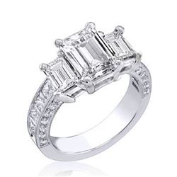 Natural 2.52 CTW Emerald Cut 3-Stone Diamond Ring 18KT White Gold