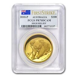2010-P Australia 1 oz Gold Koala PR-70 PCGS (FS, High Relief)
