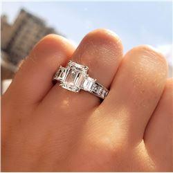 Natural 3.12 CTW Emerald Cut & Baguettes Diamond Engagement Ring 14KT White Gold